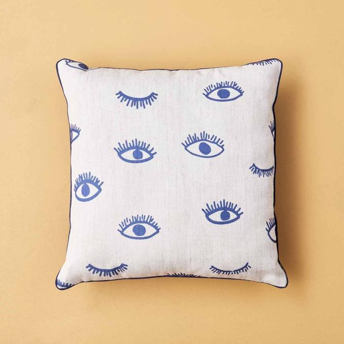 Eyes Kırlent Mavi (45x45 cm)