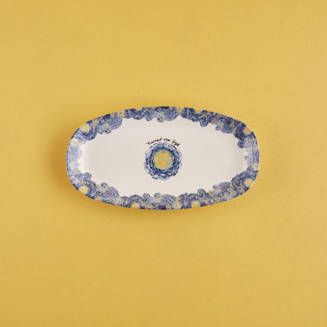 Van Gogh Stoneware Büyük Kayık Tabak Mavi (27x14 cm)