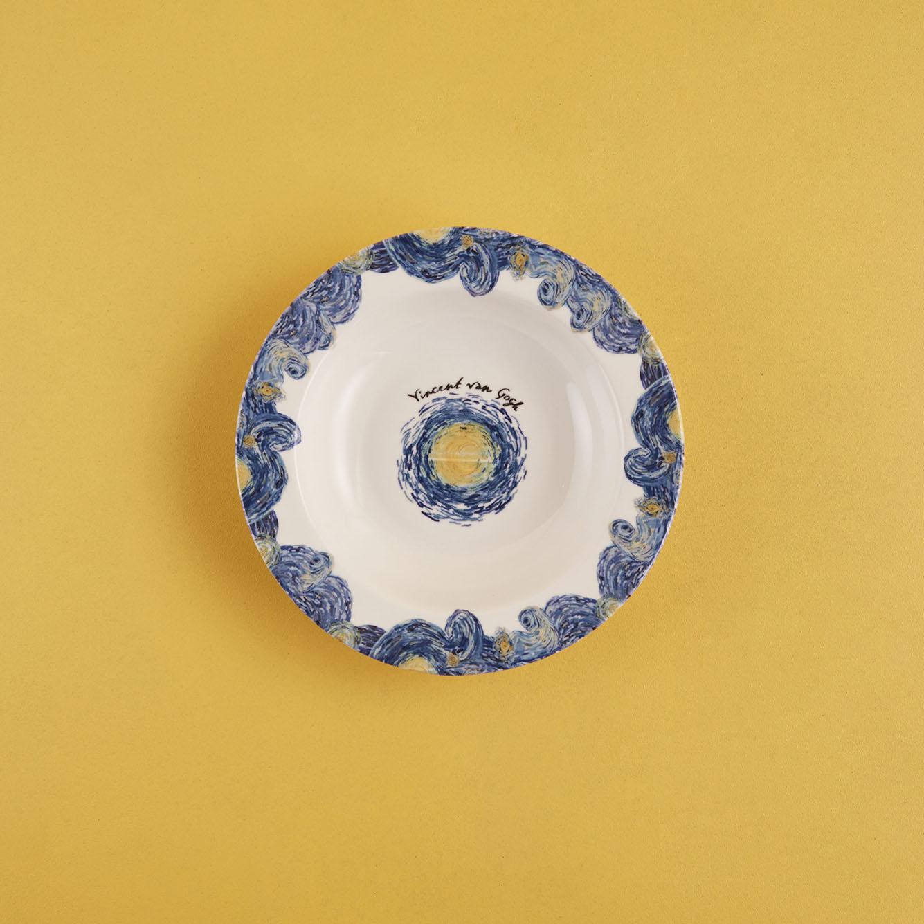 Van Gogh Stoneware Yemek Tabağı Mavi (21 cm)
