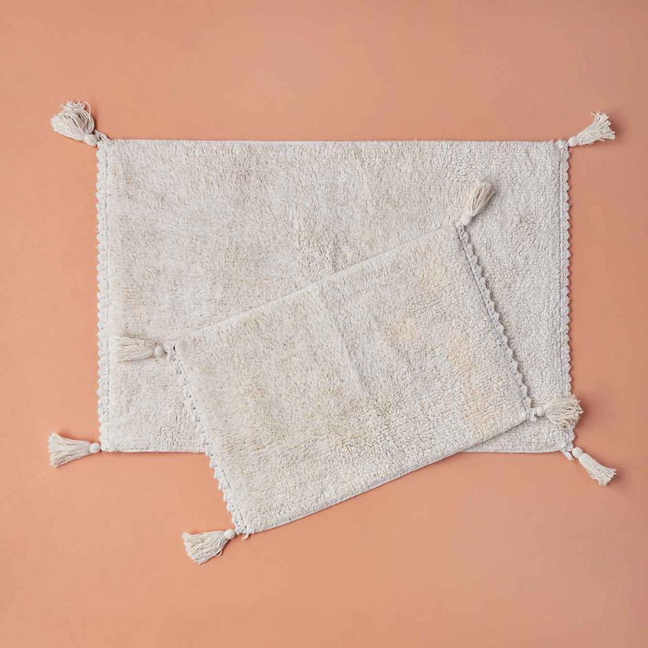 Yasy Simli 2li Banyo Paspas Takımı Beyaz (60x90 cm)