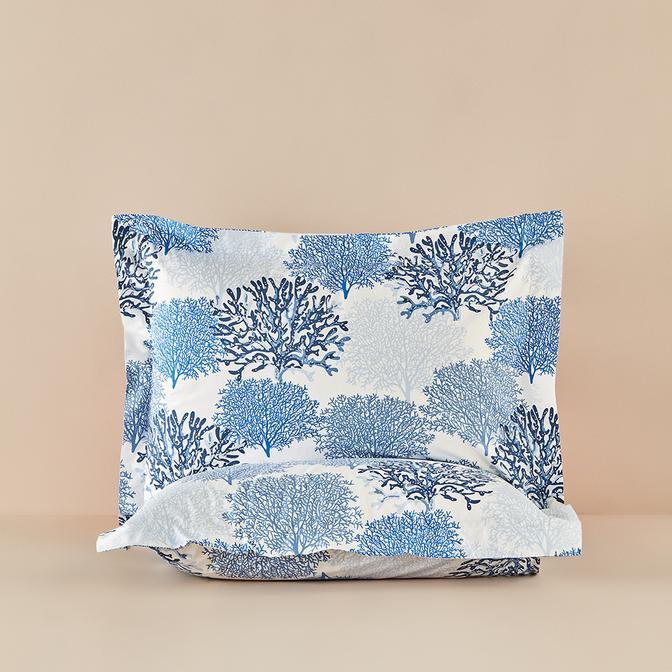 %100 Pamuk Ranforce Mavi Maren Volanlı Yastık Kılıfı 2'li (50x70 cm)