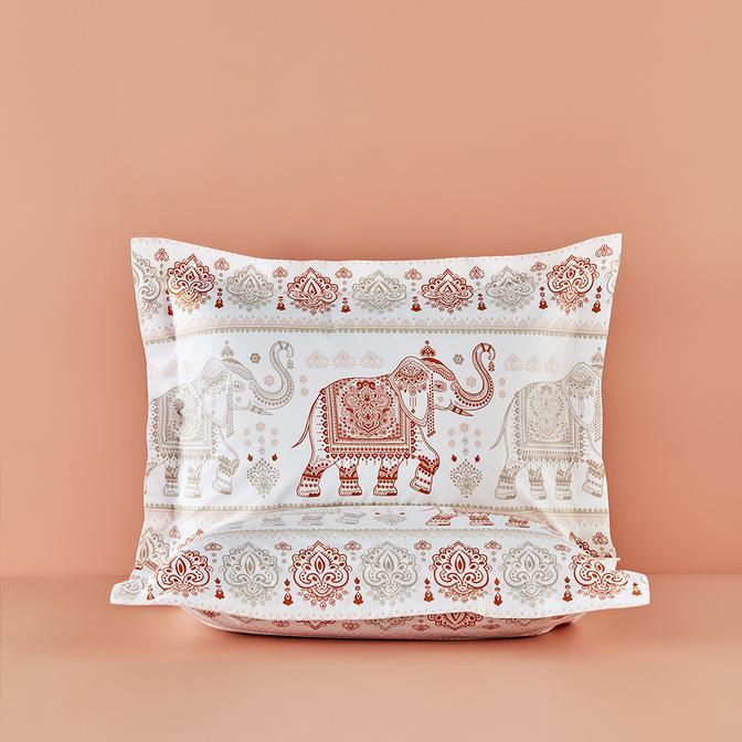 %100 Pamuk Ranforce Orient Volanlı Yastık Kılıfı 2'li (50x70 cm)