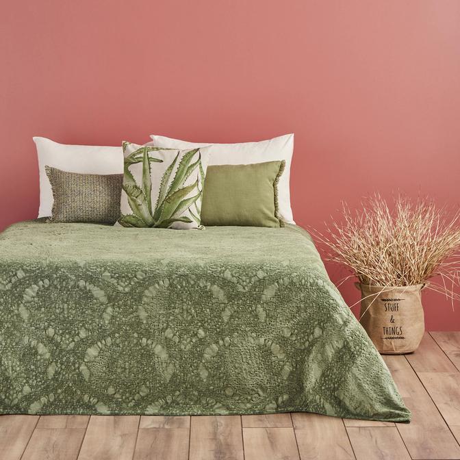 Giona Çift Kişilik Yeşil Yatak Örtüsü  (220x225 cm)