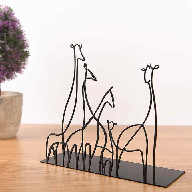 Metal Masa Üstü Biblo Giraffa Siyah (18x20 cm)