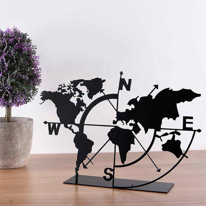 Metal Masa Üstü Biblo Dünya Haritası Siyah (18x26 cm)