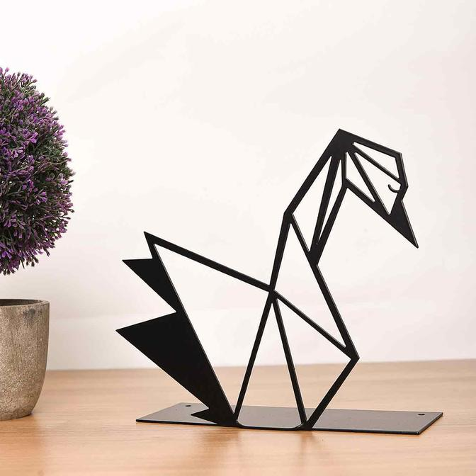 Metal Masa Üstü Biblo Kuğu Siyah (20x15 cm)