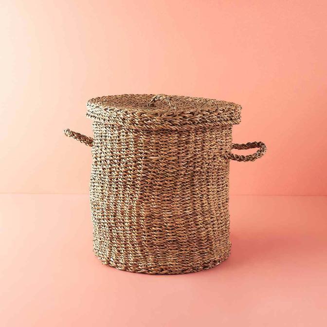 Handle Hasır Çamaşır Sepeti Naturel (44x45 cm)