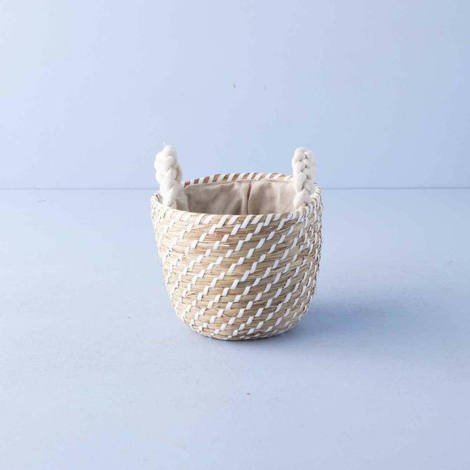 Weber Yuvarlak Kulplu Hasır Sepet Naturel (22x19 cm)