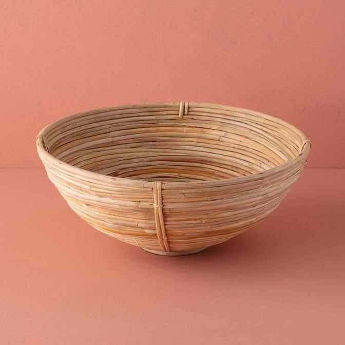 Riga Yuvarlak Bambu Kase Bej (40x15 cm)