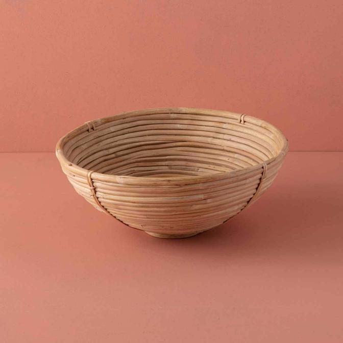 Riga Yuvarlak Bambu Kase Bej (35x12 cm)