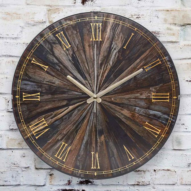 Oscurita Antica Oval Ön Kısım Eskitme Duvar Saati Kahverengi (36 cm)