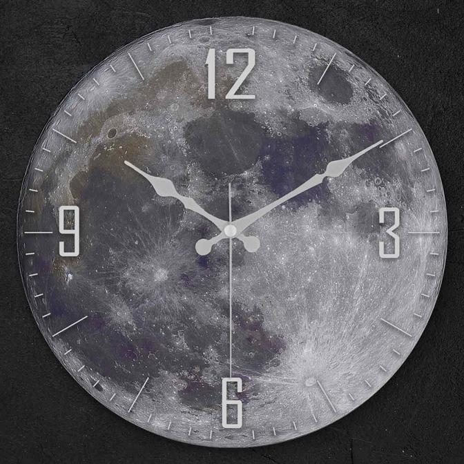 Moon Oval Gerçek Cam Duvar Saati Gri (36 cm)