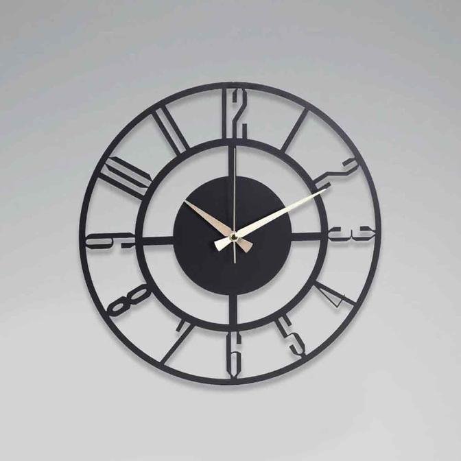 Bunnela Metal Duvar Saati Siyah (41x41 cm)