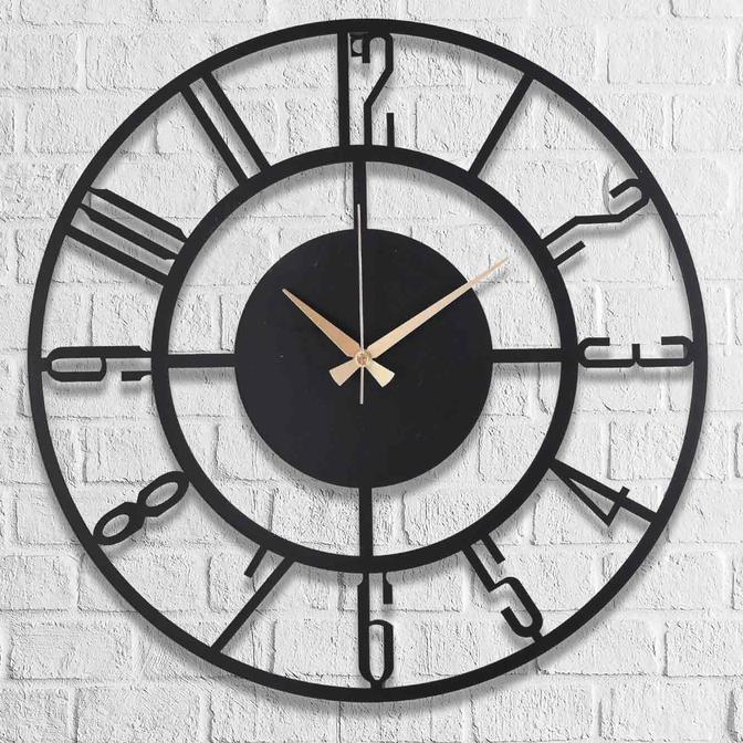 Bunnela Metal Duvar Saati Siyah (50x50 cm)
