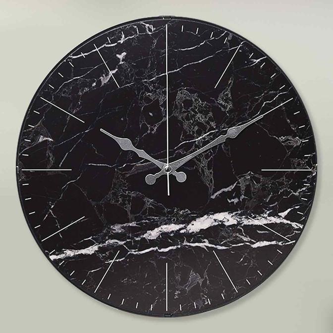 Nero Marmo Oval Cam Mermer Desenli Duvar Saati Siyah (36 cm)