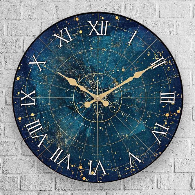 Space Oval Gerçek Cam Duvar Saati Mavi (36 cm)