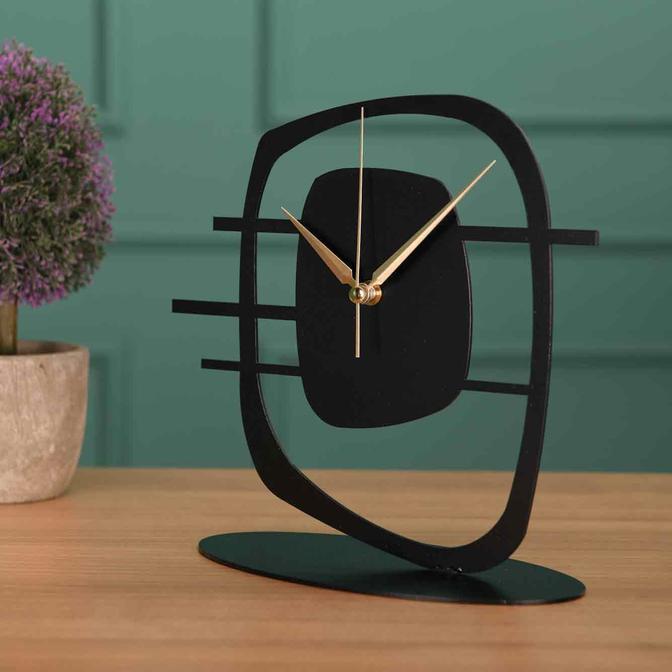 Maceire Metal Masa Saati Siyah (21x23 cm)