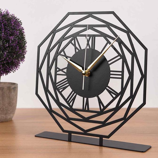 Repido Metal Masa Üstü Saati Siyah (25x23 cm)