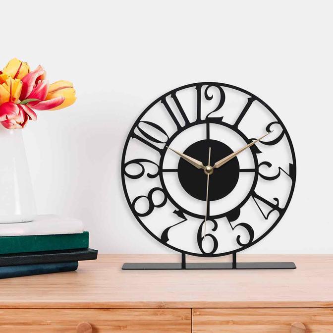 Bonni Metal Masa Üstü Saati Siyah (25x23 cm)
