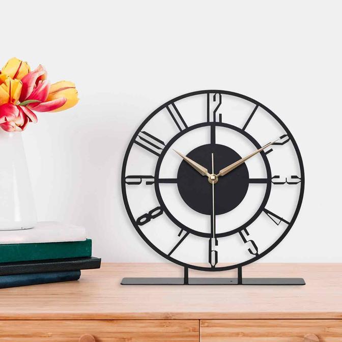 Bunnela Metal Masa Üstü Saati Siyah (25x23 cm)