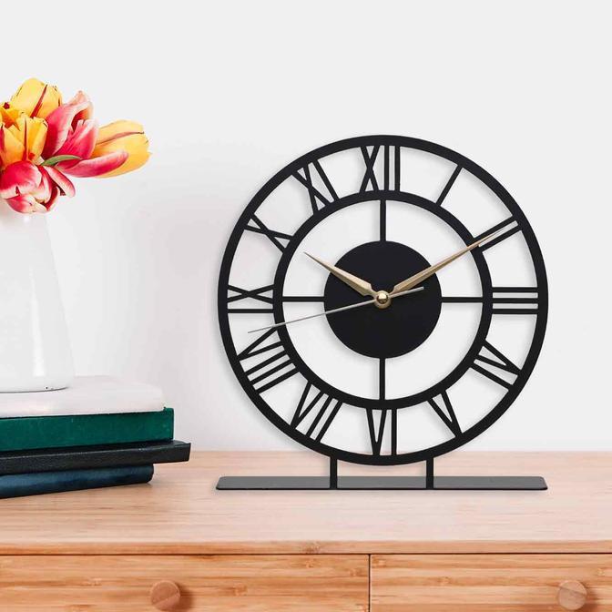 Roma Metal Masa Üstü Saati Siyah (25x23 cm)