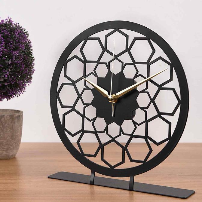 Sed Metal Masa Saati Siyah (25x23 cm)