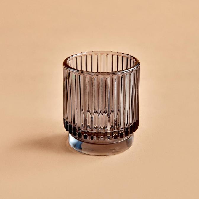 Striped Tealight Mumluk Koyu Gri (7x8 cm)