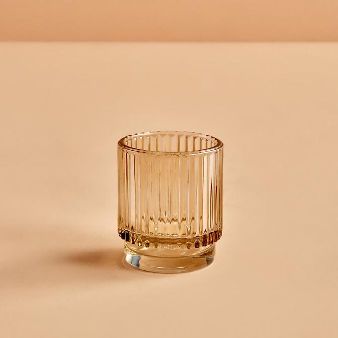 Striped Amber Tealight Mumluk (7x8 cm)