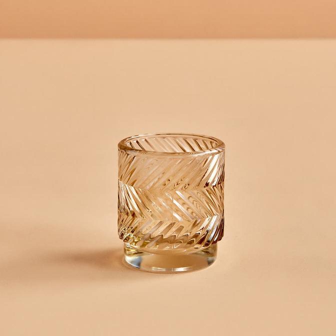 Wavy Amber Tealight Mumluk (7x8 cm)