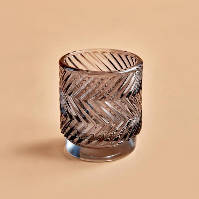 Wavy Koyu Gri Tealight Mumluk (7x8 cm)
