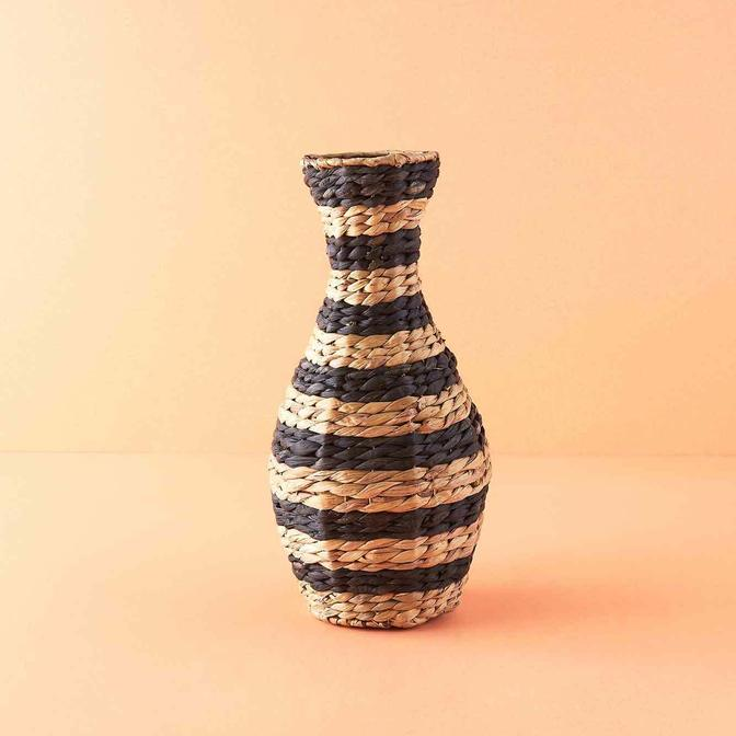 Ayumi Hasır Vazo Siyah (20x41 cm)