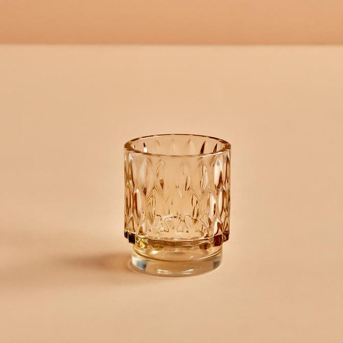 Drop Amber Tealight Mumluk (7x8 cm)