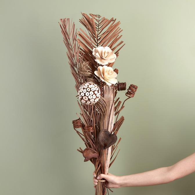 Doğal Hurma Çiçekleri ve Gül Buketi (95 cm)
