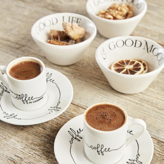 Loading Porselen Kahve Fincan Seti 2 Kişilik 4 Parça