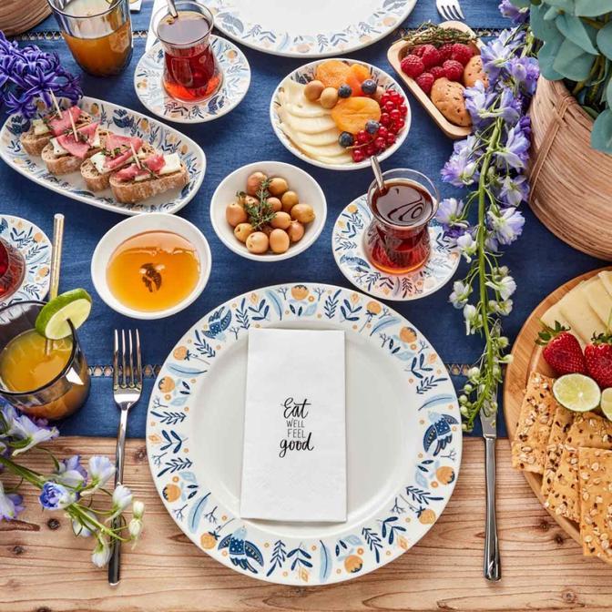Perla 26 Parça 6 Kişilik Kahvaltı Takımı Mavi