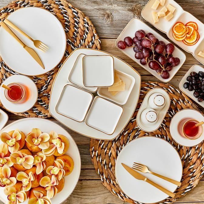 Allure Seramik 21 Parça 6 Kişilik Kahvaltı Takımı Beyaz