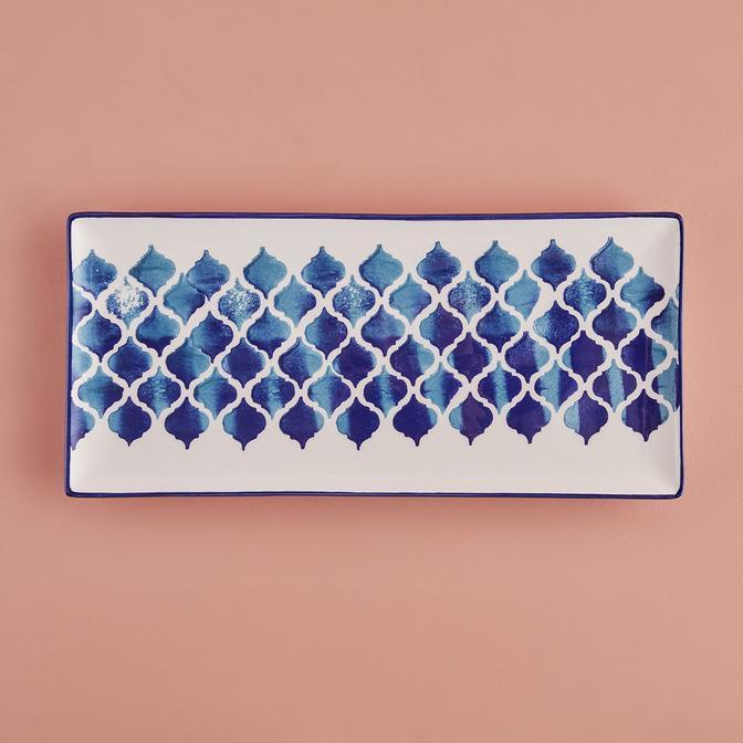 Blue Tile Seramik Sunum Tabağı (37 x 17 cm)