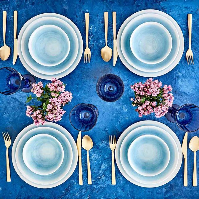 Pure Seramik Yemek Tabağı Mavi (23 cm)