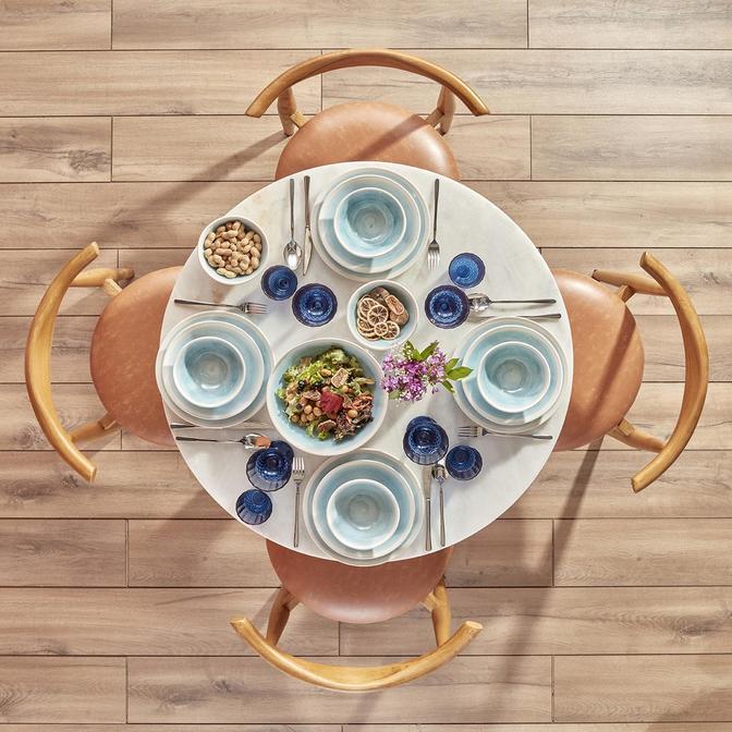 Pure Seramik 24 Parça 6 Kişilik Yemek TakımıMavi