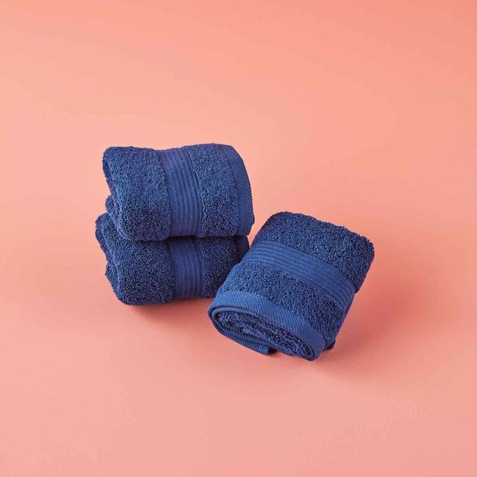 %100 Pamuk Premium 3′lü Havlu Seti Lacivert (30x50 cm)