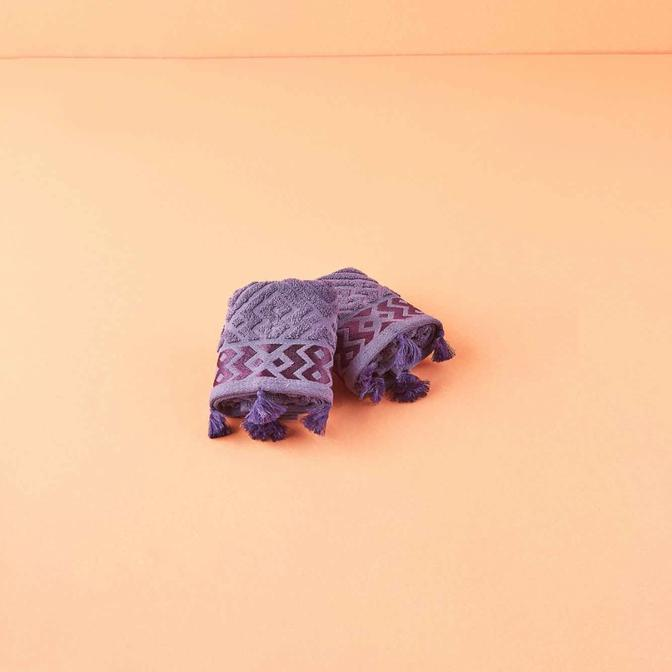 %100 Pamuk Mosaic El Havlusu 2'li Mor (30x50cm)