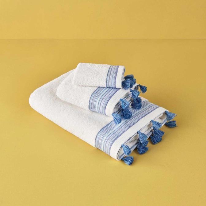%100 Pamuk Capri Yüz Havlusu Mavi (50x80 cm)