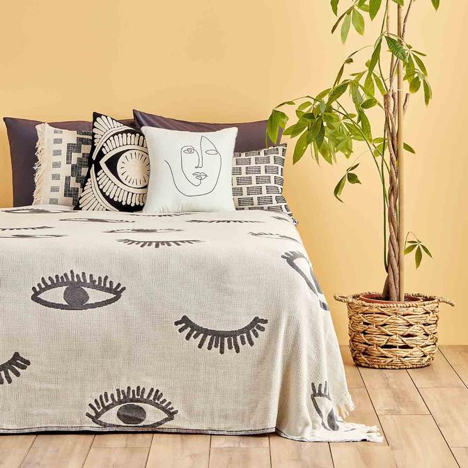 %100 Pamuk Eyes Tek Kişilik Yatak Örtüsü Antrasit (160x220 cm)