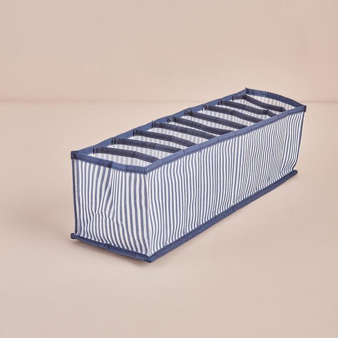 Ocean Home 10 Bölmeli Lacivert Çizgili Çekmece İçi Düzenleyici (41,5x11x12 cm)