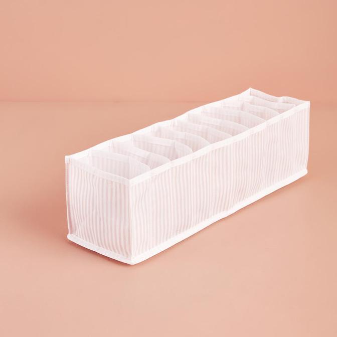 Ocean Home 10 Bölmeli Pembe Çizgili Çekmece İçi Düzenleyici (41,5x11x12 cm)