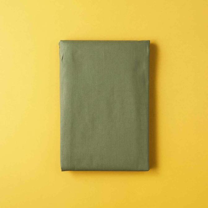 %100 Pamuk Ranforce Açık Haki Çift Kişilik Düz Çarşaf (240x260 cm)