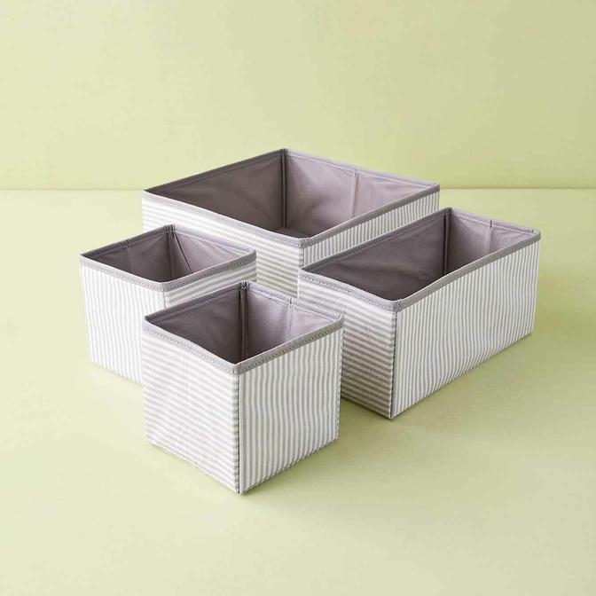 Ocean Home Çizgili Çekmece İçi Organizer Set Gri (28x13x13 cm)