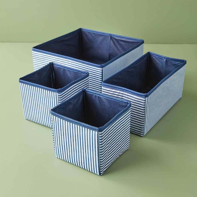 Ocean Home Çizgili Çekmece İçi Organizer Set Lacivert (28x13x13 cm)