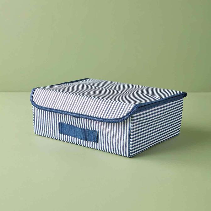 Ocean Home Çizgili Çekmece İçi Kapaklı Kutu Lacivert (30x23x11 cm)