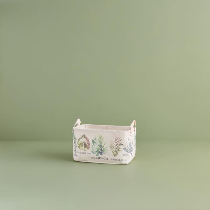 Ocean Home Yaprak Desenli Sepet  Pembe (30x21x18 cm)